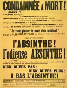 Absinthe Poster of a strongly worded broadsheet or poster attacking 'l'odieuse Absinthe' and announcing the famous anti-absinthe rally at the Trocadero in Paris on June original poster size 75 x Vintage Images, Vintage Posters, Artemisia Absinthium, Prohibition Party, Pub Vintage, Absinthe, Poster Store, Green Fairy, Eco Friendly Paper