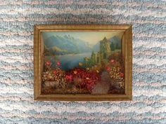1934 Shadowbox 3D Diorama / Dried Flowers by CookieGrandma60, $35.00