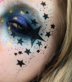 WEBSTA @ pinkishpiendel - Night sky fire flies  inspired by @thekatvond face stars and @makeupmouse  I used:#thebalmcosmetics Put A Lid On It primer #collectioncosmetics Fair concealer as my base. Also their Black felt tip liner to draw the stars and dots#urbandecaycosmetics Electric palette shades Gonzo and Chaos #makeupgeekcosmetics Booberry, Centre Stage and Fortune Teller eyeshadows#starcrushedminerals Dark Energy glitter#sugarpillcosmetics Lumi pigment everywhere#jeffreestarcosmet...
