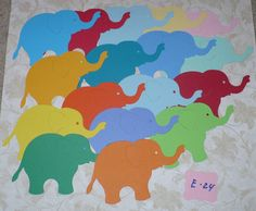 Die Cut Sizzix Elephant / Elephants made from Assorted color Cardstock for India Indian crafts scrapbooking Elephant Crafts, Elephant Birthday, Indian Crafts, Elephants, Card Stock, Scrapbooking, School, Unique Jewelry, Handmade Gifts