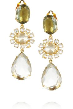 Bounkit|24-karat gold-plated green amethyst and quartz clip earrings|NET-A-PORTER.COM
