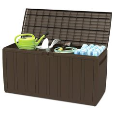 Giantex 80 Gallon Deck Box W/Handles for Easy Carrying Garden Container for Patio Garage Shed Backyard Storage Outdoor Tool Box (Brown) * You can get additional details at the image link.-It is an affiliate link to Amazon.