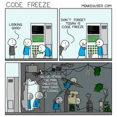 Code Freeze Programming Humor, Software Development, Projects To Try, Diagram, Floor Plans, Jokes, Sketches, Coding, Freeze