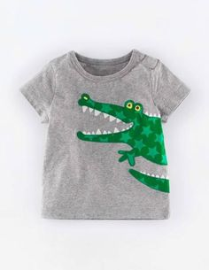 Animal Applique T-shirt 71455 Graphic T-Shirts at Boden Felt Applique, Applique Patterns, Applique Designs, Baby Kind, Grey Shirt, Sewing For Kids, Boy Outfits, Kids Fashion, Shirt Designs
