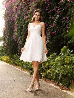 A-Line Sleeveless Knee-Length Lace Wedding Dresses
