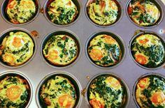Easy Gluten-Free Egg Cups for Breakfast   Spinach and sun dried tomato egg cups are a quick and easy breakfast that you can take with you on the go. #easyrecipes