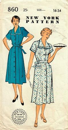 1950s New York 860 Vintage Sewing Pattern Misses One Piece