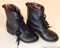 Women's Combat Boots 6 Black Floral Lined HOT TOPIC Perfect! #HotTopic #CombatBikerMotorcycle #Casual