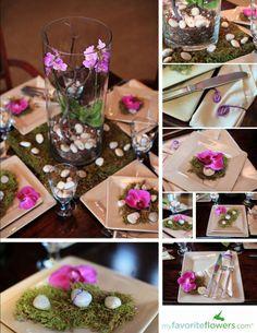 Phalaenopsis Orchid Plant arrangement as a wedding table centerpiece