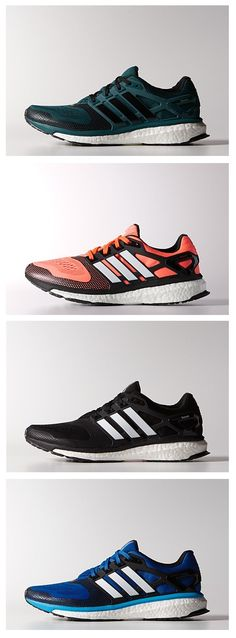 """Made with innovative boost™ that is designed to return energy to the foot with every step and built with a seamless and flexible techfit™ upper for a natural feel. They have FORMOTION® for a smooth transition from heel strike to toe-off and feature TORSION® SYSTEM and molded overlays for support."" @adidas #adidas"