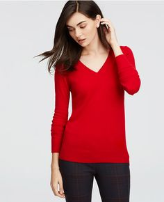 Primary Image of Petite Cashmere V-Neck Sweater