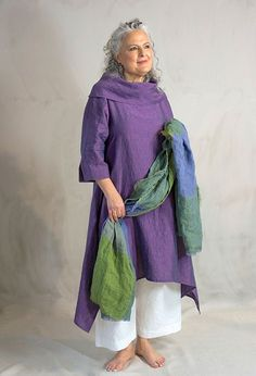 Terry Macey Paris tunic £270 over Morocco trousers £215. Irish linen shawl £65.