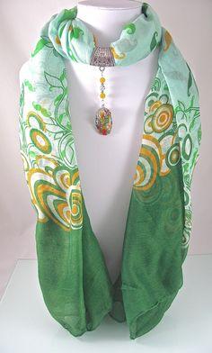 Bijou de foulard sur bélière avec foulard, verre et métal argenté - 260115-BJ-003 : Echarpe, foulard, cravate par si-mes-perles-etaient-contees