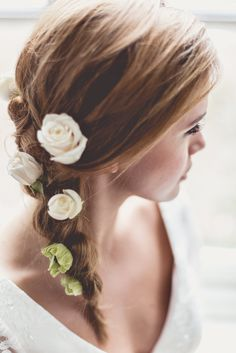 Side plait with fresh flowers trailing - Rock My Wedding Magazine Issue #2 Bardot – Homage To An Icon