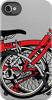 Brompton Bicycle Folded    Brompton Cycle, the worlds most popular folding bicycle.  Nicely folded to fit on an i phone via the lovely people at redbubble.