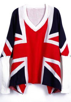 White and Navy V-neck Batwing Sleeve Union Jack Flag Pattern Sweater