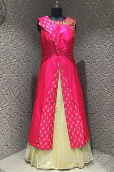 http://www.mangaldeep.co.in/lehengas/indo-western-lehengas/pink-and-cream-silk-indowestern-readymade-suit-8413 For more information :- Call us @ +919377222211 (Whatsapp Available) (y) :)
