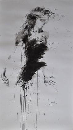 fille aux cheveux rouges (Peinture), 90x150 cm par Ewa Hauton encre de chine et fusain sur papier