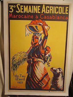 AFFICHE-MAROC-CASABLANCA-AGRICULTURE-FEMME-DECO-1927                                                                                                                                                      Plus