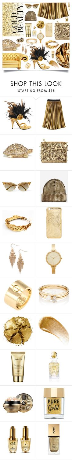 """gold beauty."" by ezgi-g ❤ liked on Polyvore featuring Prada, Avon, Judith Leiber, Forest of Chintz, Fendi, Topshop, Treasure & Bond, Michael Kors, Cartier and Loren Stewart"