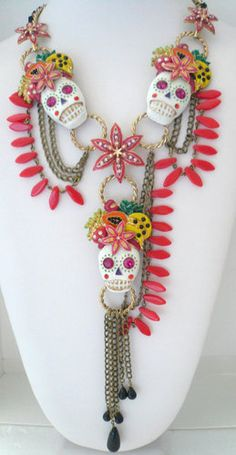 love this necklace - Betsey Johnson Rio 3 Skull Skeleton Fruit Tropical Chains Statement Necklace New | eBay