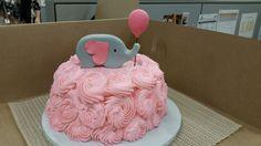 elephant pink baby shower cake
