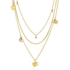 Coach new layered heart charm necklace