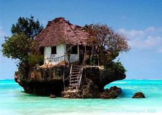 Restaurant on a cliff on the east coast of Zanzibar.