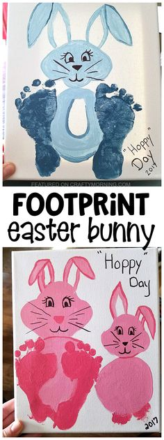 Footprint easter bunny craft for kids to make! Makes a cute canvas keepsake gift for parents or grandparents!