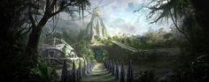concept thor ruins game god fantasy justin landscape alien mountain village ancient paintings google jungle yun thunder vikings artist norse