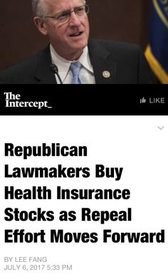 THIS. Our Criminal Republican Congress find all sorts of ways to Enrich themselves at The American People's expense. Buying Stock in Health Insurance Companies should be Unethical because they stand to make Millions if they pass that Trump/GOP Death Bill. THEY make Million$ while Millions Die!! *The Republican Way*