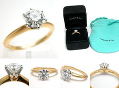 Ahh here it is. The best of the best. 1 Carat gold Tiffany & Co. Engagement ring. My dream ring :)))) Only $10,000 ha!