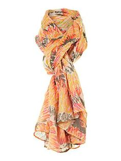 Fluro feather print scarf