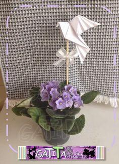 Dove - Pomba da Paz - Espírito Santo. Topper para flores. Lembrancinhas batizados ou páscoa.