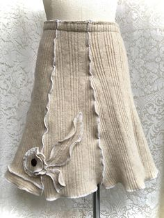 Wool Skirt Upcycled Sweaters Off White A-Line Skirt Women