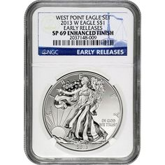 2013-W Silver American Eagle West Point 2pc Set 69 UC ER NGC Blue Label / Enhanced Mint State