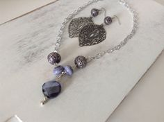 Silver, Purple Lampwork and Crystal Pendant Necklace Set on Etsy, $28.00