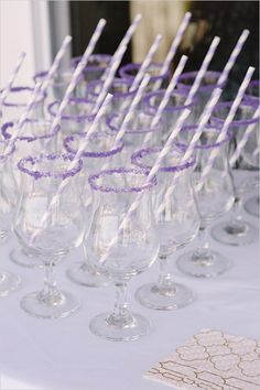 purple sugar rimmed glasses   drink ideas   bridal shower ideas   #weddingchicks