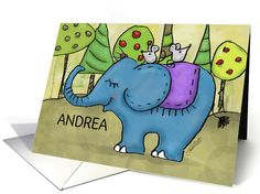 Happy Birthday Name Specific Andrea -Elephant with Little Mice on Back card