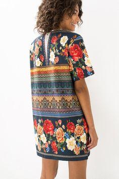 vestido t-shirt jardim mistico   FARM