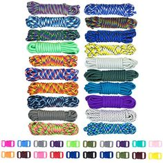 Zesty 550lb Survival Paracord Random Combo Crafting Kit by West Coast Paracord - 10 Colors of 500lb Cord & 10 FREE buckles - Type III Paracord - Make 10 Paracord bracelets-Great Gift. For product & price info go to:  https://all4hiking.com/products/zesty-550lb-survival-paracord-random-combo-crafting-kit-by-west-coast-paracord-10-colors-of-500lb-cord-10-free-buckles-type-iii-paracord-make-10-paracord-bracelets-great-gift/