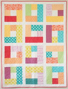 15 Quick, Free Quilt Patterns [Friday Favorites] (A Little Bit Biased) Lap Quilts, Jellyroll Quilts, Strip Quilts, Patch Quilt, Scrappy Quilts, Quilt Blocks, Baby Quilt Patterns, Quilting Patterns, Quilting Designs
