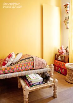 I love everything about this Bollywood-inspired Parisian home! India Decor, Living Furniture, Home Furniture, Muebles Living, Indian Interiors, Deco Boheme, Indian Homes, Bollywood, Yellow Walls