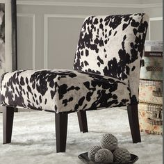 INSPIRE Q Black & White Faux Cow Hide Fabric Accent Chair