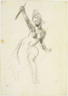 Eugène Delacroix, Study for Liberty Leading the People (ca. 1830) - (beautiful, dynamic hand)