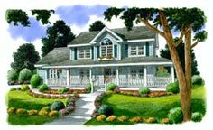 Elevation of Country   Farmhouse  Southern   House Plan 24732