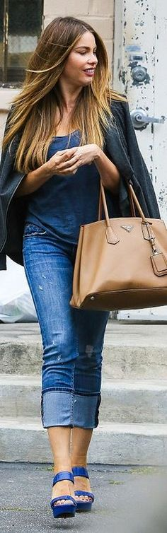3c847f0fc6f944 Sofia Vergara out and about in Beverly Hills, CA (April wearing a Prada  Saffiano Cuir Medium Double Bag and Saint Laurent Bianca Croc-Stamped  Leather ...