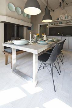 Houten Driftwood vloer Earth & Fire Atoll van Solidfloor #houtenvloer #keuken #landelijk