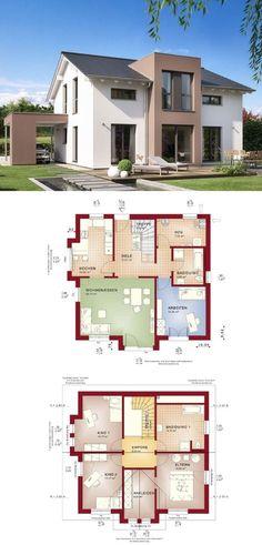 MODERNES SATTELDACH HAUS Celebration 150 V9 Bien Zenker * Einfamilienhaus bauen moderne Architektur Grundriss 6 Zimmer Fassade Putz Terrasse Carport ( HausbauDirekt.de )
