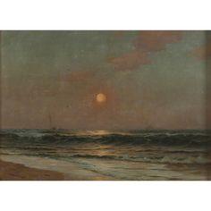 "Warren W. Sheppard ""Sunset Over Water"" Color Of Night, Dark Artwork, Beautiful Mess, Nocturne, Rainy Days, Infinite, Landscape Paintings, Twilight, Sunrise"